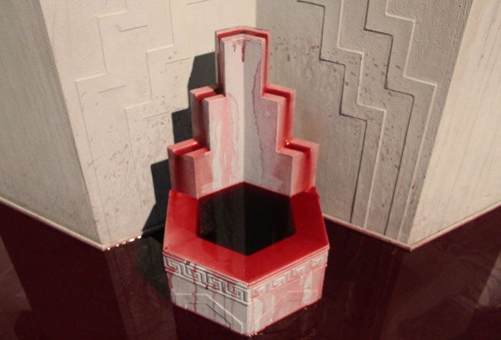 Detail: Production of sacred things, 2012, red wine, concrete render, perspex, wood, mdf