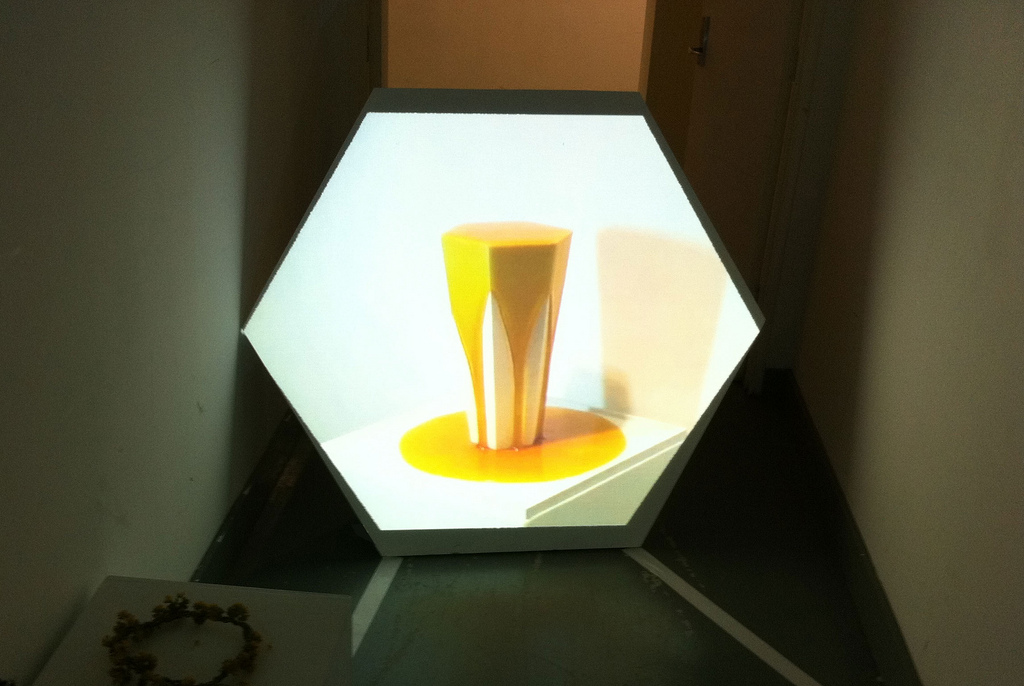 Honey in honour of bees, 2011, Wood, acrylic paint, video projection