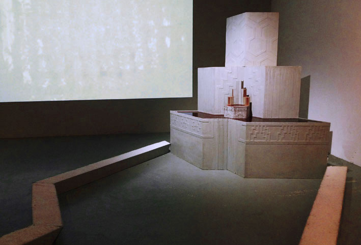 Sacrifice & sacred things, 2012, Wood, wine, milk, salt, concrete render