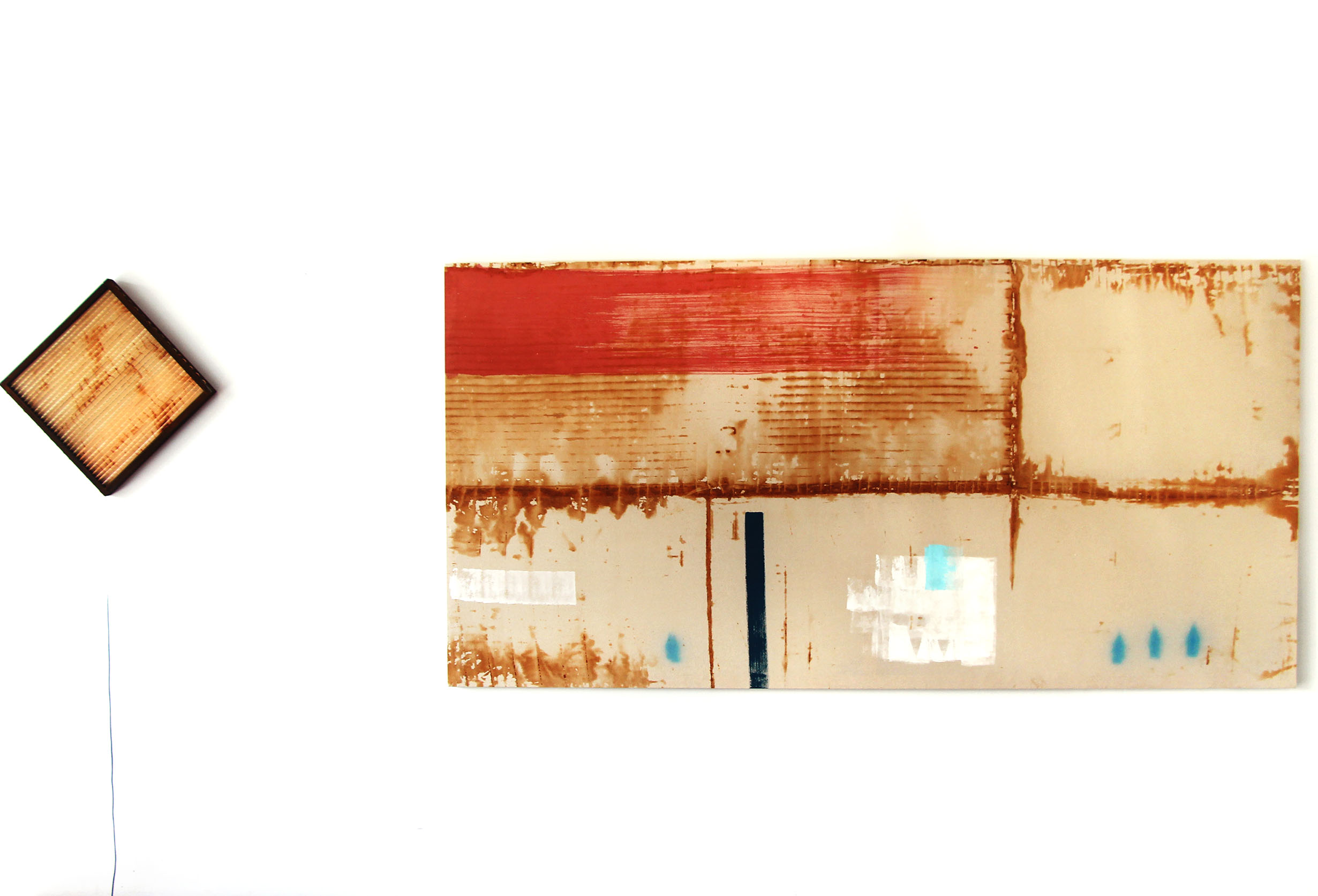 Like rust and water, 2016, rust-dyed calico, acrylic paint, spray paint, 266x133cm