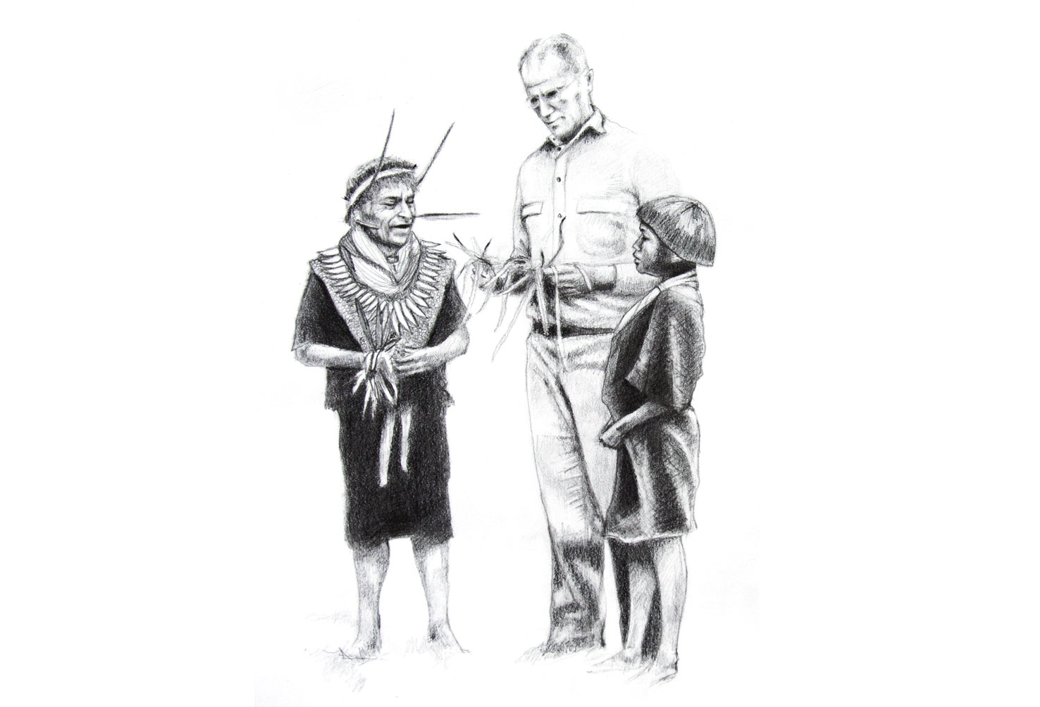 Plant teachers (Salvador Chindoy, the Kamsa Shaman, teaches Richard Evan Schultes, the founder of ethnobotany, about the plants that taught him), 2014, Graphite on paper