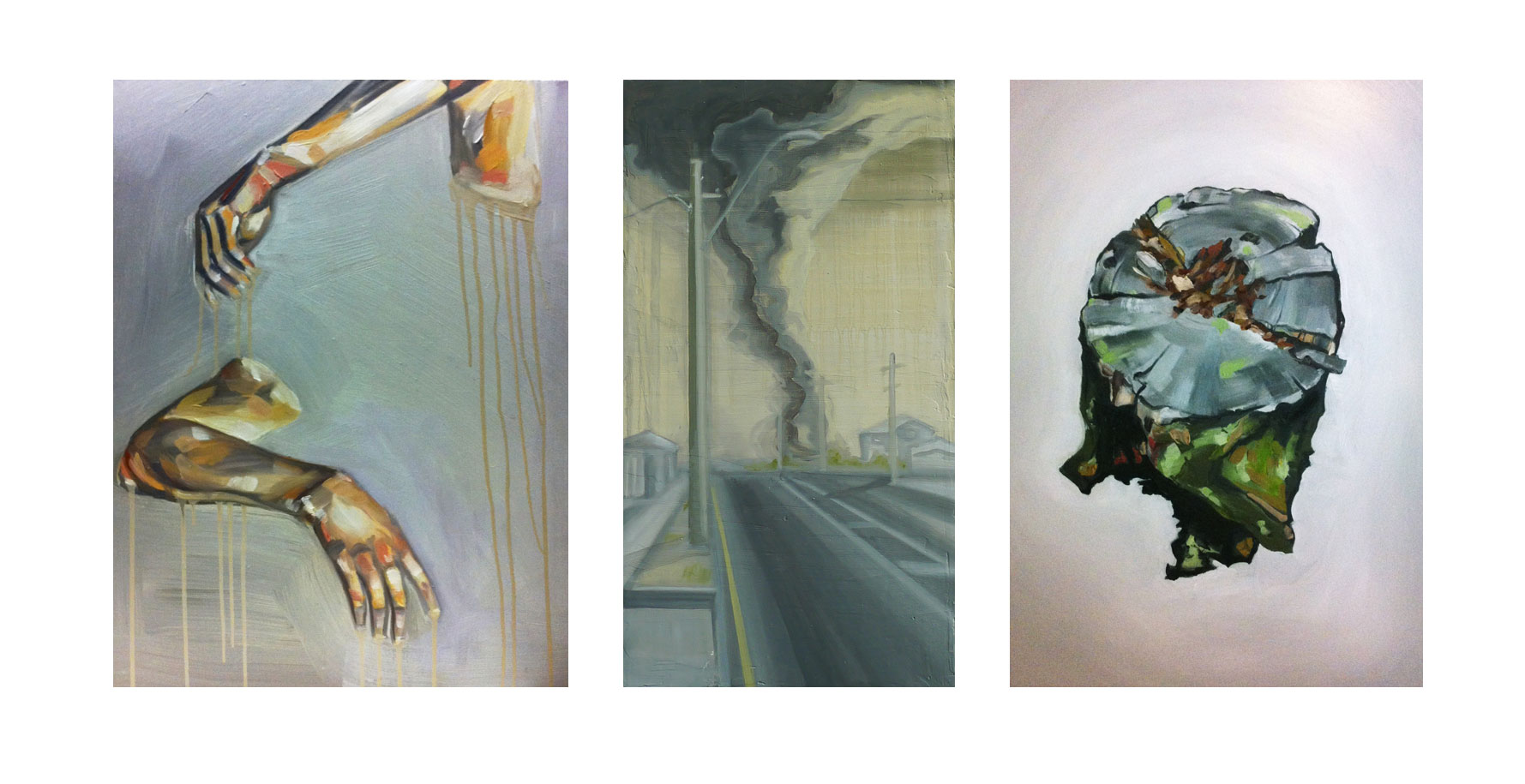 Left to right: Flesh study, 2011; Suburban future, 2010; Mark of man, 2012, oil on board