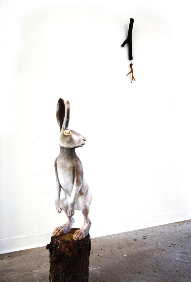 Detail: Detritus of dead epochs- White Hare, White Stag, 2015,  wood, polystrene, acrylic coating, tar, Roe deer antler