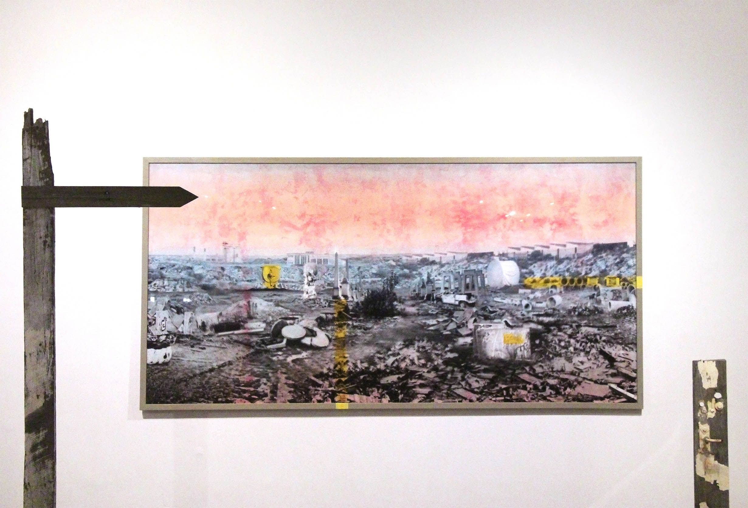 Flotsam of Capital, 2016, flatbed print on Optic plastic, ice-dyed calico, acrylic paint, wood, 246x123cm